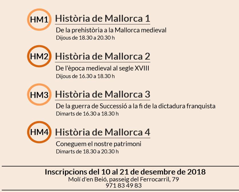 Programació dels cursos d'història de Mallorca 2018-2019