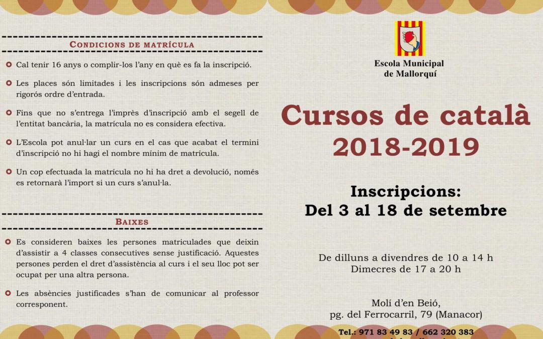 Programació dels cursos de català 2018-2019