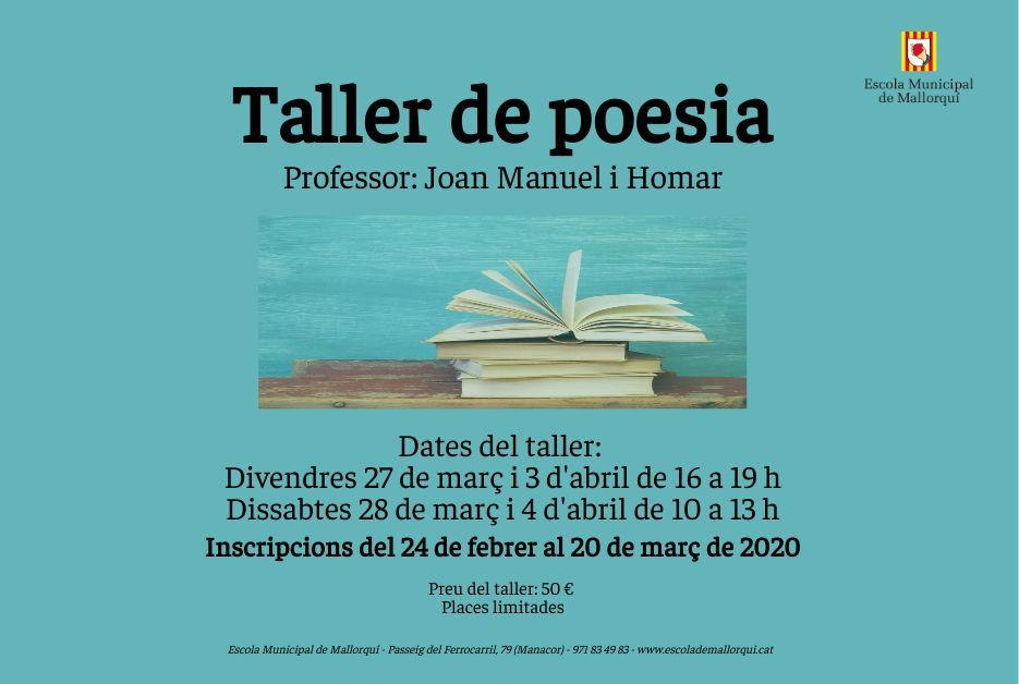 Inscripcions al taller de poesia per a adults