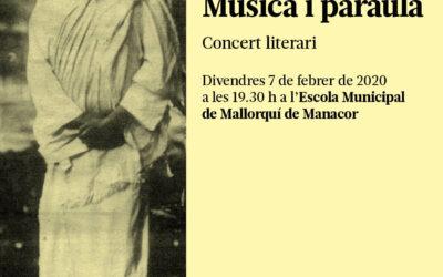 Divendres 7 de febrer: concert literari