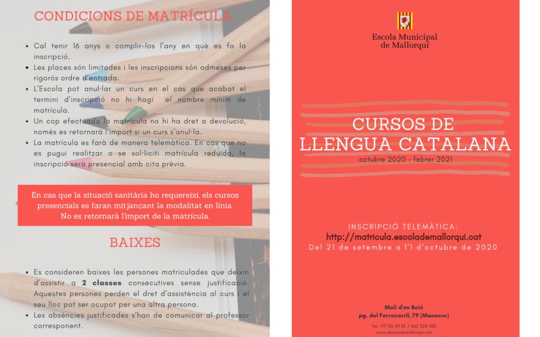 Inscripcions cursos de llengua catalana 2020-2021 (dematins i horabaixes)