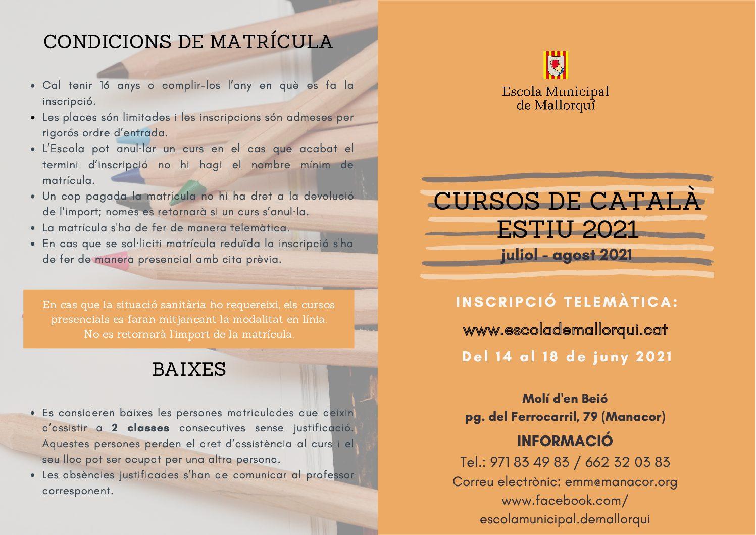 Díptic cursos d'estiu llengua catalana