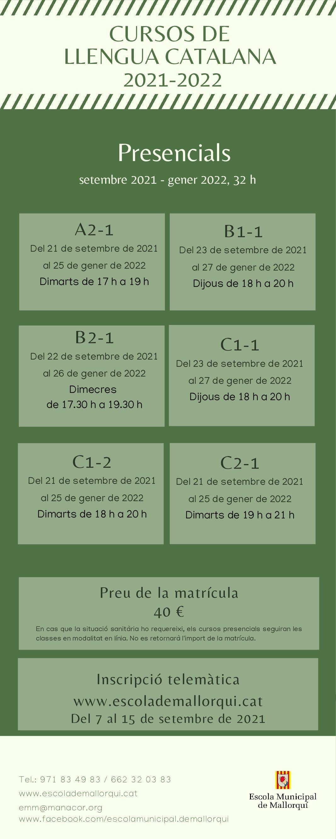 CURSOS DE LLENGUA CATALANA 2021-2022